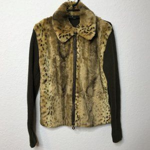 Essentials by Milano Brown Faux Leopard Jacket
